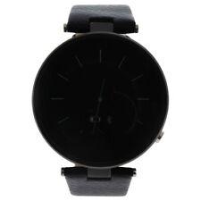 EK-E1 Montre Connectee Black Leather Strap Smart Watch for Unisex