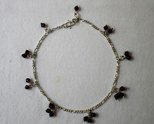 Sterling Silver 925 Amethyst Bead Curb Link Anklet 5.42g 9.5 inches Length