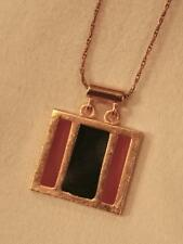 Handsome Squared Navy Blue & Peach Enamel Striped Goldtone Pendant Necklace