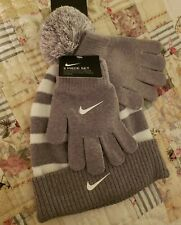 NEW! Nike Youth 2-Piece Youth Pom Hat & Glove Set, Gray White Striped, One-Size