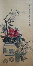 "RARE Chinese 100% Handed Scroll & Painting ""Flowers"" By Qi baishi 齐白石 SYZWEDEDB"