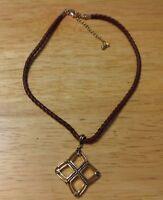 """Lia Sophia Leather Braided Necklace Dangle Gold Tone Pendant 15""""-18"""""""
