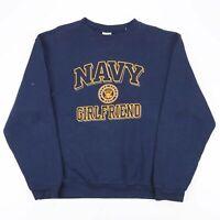SOFFE Navy Girlfriend Blue American Crew Neck Sweatshirt Mens L