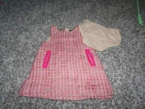 BABY GAP 3-6 RARE PINK TWEED DRESS SET