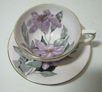 Clarence Bone China Tea Cup & Saucer Made In England Purple Floral