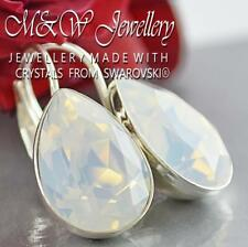 925 SILVER EARRINGS CRYSTALS FROM SWAROVSKI® PEAR FANCY STONE - WHITE OPAL