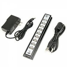 10-Port High Speed USB 2.0 Hub Powered with Adapter Black SHIPS FREE USA
