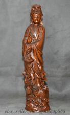 Support en bois de buis chinois Damo Bodhidharma statue de cannes de Bouddha