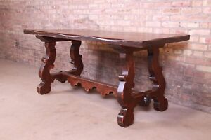 Antique Italian Solid Oak Library Trestle Table or Writing Desk