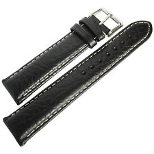 19mm deBeer Mens Black Sport Leather Contrast Stitched Watch Band Strap