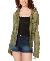 Freshman Junior's Cardigan Green Size Medium M Hooded Pointelle-Knit  $49 314