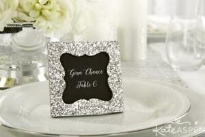 Mini Silver Glitter 9cm Square Mini Photo Frame/Place Card Holder Wedding Favour