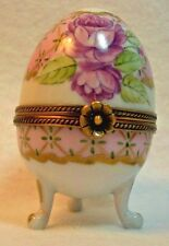 Egg Shaped Pink Rose Limoges Hinged Trinket Box Collectible Signed