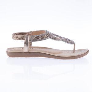 Kasara Diamante Thong Sandal black gold sizes 5, 7 jewel