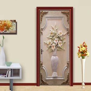3D Flower Vase Room Mural Wallpaper Self-adhesive Door Stickers Wall Decor Decal
