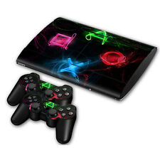 PS3 Playstation 3 Super Slim Skin Design Sticker Screen Protector - PS Buttons 3
