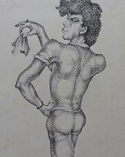 Beate Hübner: Ein zarter Wink - Signierte Original Federzeichnung von 1982
