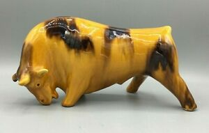 Vintage Ceramic Yellow/Gold and Brown Glazed Charging Bull Bitossi-Style