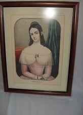 1800's Color Lithograph Kellogg & Comstock Bridget Framed Victorian NICE