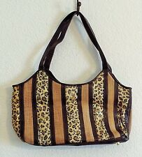 Vintage Naturalizer Leopard linen look stripe purse Animal print sequin studded
