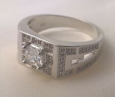 925 Sterling silver Men's simulated diamond ring square USA size 11 Australian W