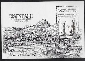 Dominica 1985Johann Sebastian Bach, Souvenir Sheet,  Sc #914 - pw58