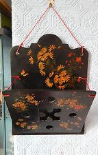 VICTORIAN PAPIER MACHE LETTER RACK hand painted flowers