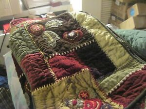 POTTERY BARN Quilt Velvet Coverlet & 2 Matching Shams Hand-Stitched Full / Queen