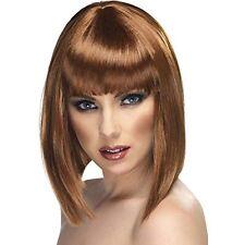 Womens Brown Glam Wig Short Blunt Fringe Fancy Dress Beauty Model Style Brunette