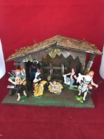 Nativity Set With Wood Manger And Six Figurines