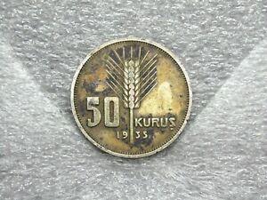 1935 50 Kurus Turkey .830 Silver - Old World Coin Circulated Currency