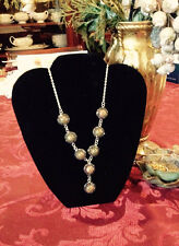 "30 CT UNIKITE AND AUSTRIAN CRYSTAL SILVERTONE NECKLACE,  22"" W/LOBSTERCLAW CLASP"