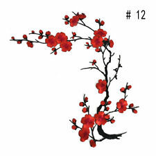 Plum Blossom Flower Applique Embroidery Patch Sticker Sew Iron On Cloth Patch FL