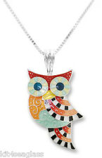 "Zarah Zarlite OWL Radiance NECKLACE 18"" Sterling Silver Chain Bird - Gift Boxed"