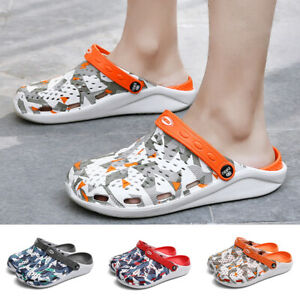 Unisex Adults Hole Slippers Geometry Printed Casual Outdoor Beach Non-Slip Shoes