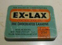 Vintage Ex-Lax Chocolated Laxative Medicine Tin Brooklyn NY Blue Box