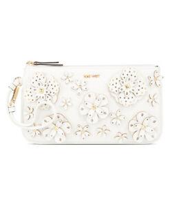BNWT Nine West 3D Floral Wristlet Clutch Bag Purse  White