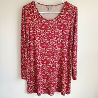 J Jill Wearever Collection Red Lace Long Sleeve Tunic Blouse Size Small Petite