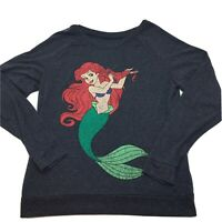 Ariel Mermaid Long Sleeve Women's Top Blouse Disney Sz L Dark Gray ,Graphic Logo