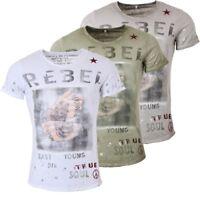 Key Largo Herren T-Shirt Rebellion Print vintage Look tiefer Rundhals Ausschnitt