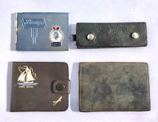 4 x VINTAGE STAMP CASES WALLETS INCLUDING 2 x WW2 PERIOD LEATHER - LOT 18
