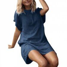 Women Loose Linen Cotton Straight T Shirt New Dress Short Sleeve Summer BB