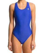 TYR Tyreco Solid Maxfit Swimsuit - Girl's Size 24 Color Royal NEW UPF 50+