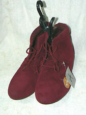 Red faux suede boots size 4