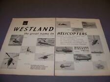 VINTAGE..1960 WESTLAND SCOUT/SKEETER HELICOPER..ORIGINAL SALES AD...RARE! (910J)