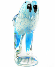 GLASFIGUR BLAUARAS ca.22cm GLASS SCULPTURE tropical MACAWS - GLAS Vögel als PAAR