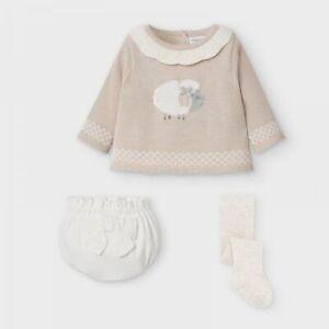 Mayoral Baby Girls 3 piece Tan  Knit Spanish Set (2212)