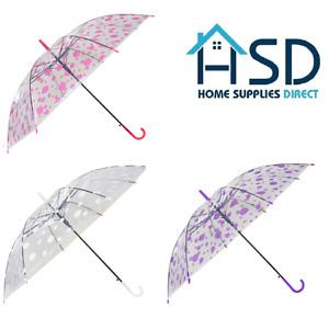 Polka Dot Clear Dome Umbrella Rain See Through Bubble Transparent Walking Brolly