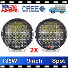 "2X 9"" inch 185W Round LED Driving Light CREE Spot Beam Bumper Offroad 4X4WD Jeep"