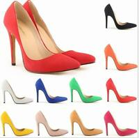 Stylish Suede Womens US 4-10 Pointy Toe Stilettos 11CM High Heels Wedding Shoes